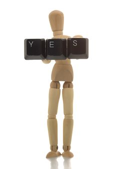Free Manikin Showing YES Royalty Free Stock Images - 4607999