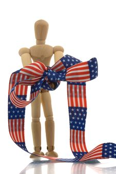 Manikin Hands Tied With Us Banner Tape Stock Photography