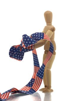 Manikin Hands Tied With Us Banner Tape Royalty Free Stock Images