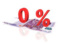 Free 3d Rendered Percentage On Euro Banknote Stock Image - 4608091