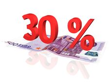Free 3d Rendered Percentage On Euro Banknote Royalty Free Stock Photo - 4608125