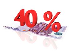 Free 3d Rendered Percentage On Euro Banknote Royalty Free Stock Images - 4608129