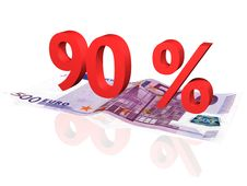 Free 3d Rendered Percentage On Euro Banknote Stock Image - 4608171