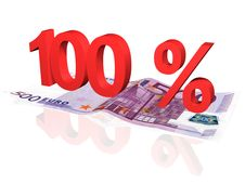 Free 3d Rendered Percentage On Euro Banknote Royalty Free Stock Photo - 4608185