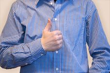 Free Man In Blue Shirt With Thumb Symbol Royalty Free Stock Images - 4610459