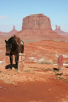 Free Cow Boy Horse In Monument Valley Stock Photo - 4610470