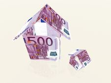 Free Money Houses Made From 500 Euro Banknotes Stock Images - 4610554