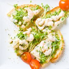 Sliced Prawn And Cress Sandwich Royalty Free Stock Photography