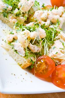 Free Sliced Prawn And Cress Sandwich With Tomatoes Stock Image - 4610601