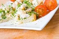 An Open Seafood Sandwich Stock Photo