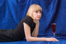 The Blonde With A Wine Glass Royalty Free Stock Images