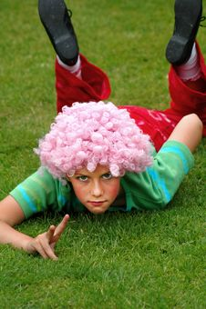 Girl Dressed Up In 1970s Costume Royalty Free Stock Image