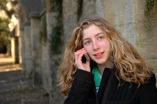 Free Pretty Teenager On Mobile Phone Stock Image - 4616571