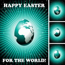 Easter Greeting Card With Globe Egg Royalty Free Stock Photo