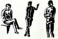 Three Men Sketches Stock Photos