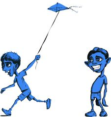 Sad Boy And Boy Flying Kite Royalty Free Stock Images