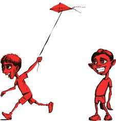 Free Sad Boy And Boy Flying Kite Stock Photos - 4617303