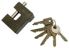 Free The Lock And Sheaf Of Old Keys On A White Backgrou Stock Photo - 4618820