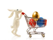 Easter Rabbit With Eggs In The Cart Stock Photo