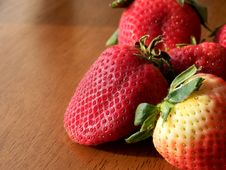 Free Red Strawberries On Wood Stock Image - 4619221