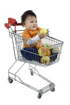 Free Baby In A Shopping Cart Stock Photo - 4619500