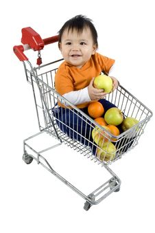 Baby In A Shopping Cart Stock Image