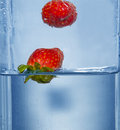 Free Splashing  Two Strawberry Stock Photo - 4623790