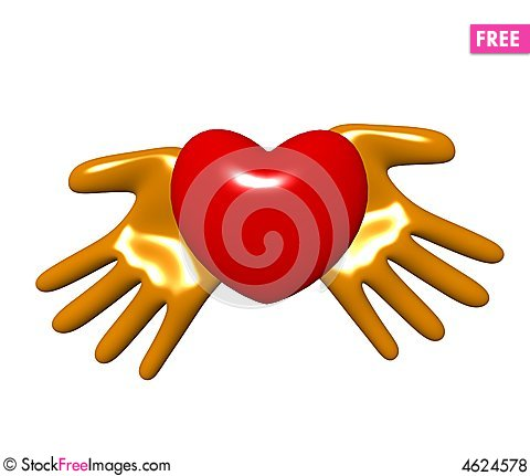 Free Hands And Heart On A White Background Royalty Free Stock Photos - 4624578