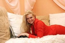 Free Woman Using Laptop At Home Stock Photos - 4621293