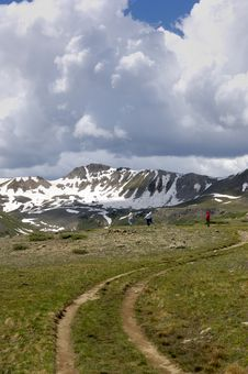 Free Independence Pass Colorado With Hikers Stock Image - 4623571