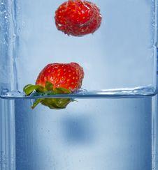 Free Splashing  Two Strawberry Stock Photo - 4623790