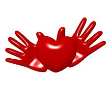 Free Hands And Heart On A White Background Royalty Free Stock Image - 4624566