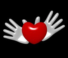 Free Hands And Heart On A Black Background Stock Image - 4624571