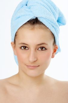 Free Spa Woman In Blue Towel Royalty Free Stock Photos - 4626898