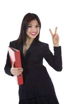 Free Business Woman With Folder Royalty Free Stock Photos - 4627398