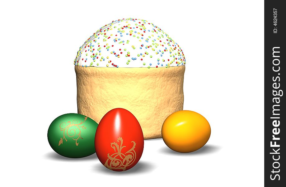 Festive easter cake and eggs