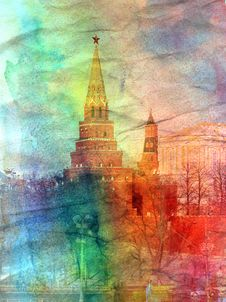 Free Retro Watercolor The Kremlin Tower In Moscow Royalty Free Stock Photos - 46279588