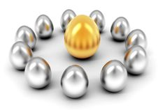 Silver And Golden Eggs Royalty Free Stock Photography