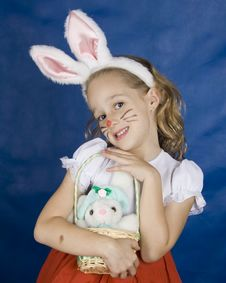 Free Smilling Girl With Bunny Stock Photography - 4632512
