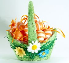 Easter Basket With Little Nice Eggs Royalty Free Stock Photo