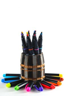 Colourful Pen And Pen Caps Stock Images