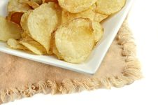 Free Potato Chips In A White Dish Royalty Free Stock Photos - 4633268