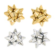 Golden And Silver Gift Bows Royalty Free Stock Photo