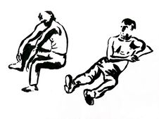 Two Sitting Men Sketches Stock Images