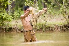 Free Fishing With A Throw Net Stock Image - 4636511