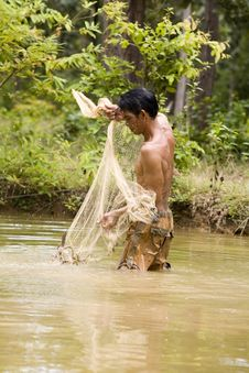 Free Fishing With A Throw Net Stock Photography - 4636542