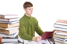 Free The Young Student With Books Isolated On A White Royalty Free Stock Image - 4636746