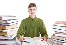 Free The Young Student With Books Isolated On A White Royalty Free Stock Image - 4636756