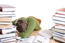 Free The Sleeping Student With Books Isolated Royalty Free Stock Photo - 4636765