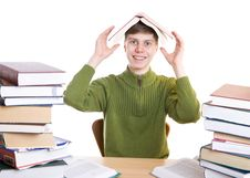 Free The Young Student With Books Isolated On A White Royalty Free Stock Photography - 4636787